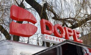 Вывеска на фургон с кофе