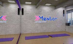 Интерьерный логотип для студии фитнеса
